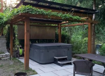 Backyard Pergola for hot tub and privacy